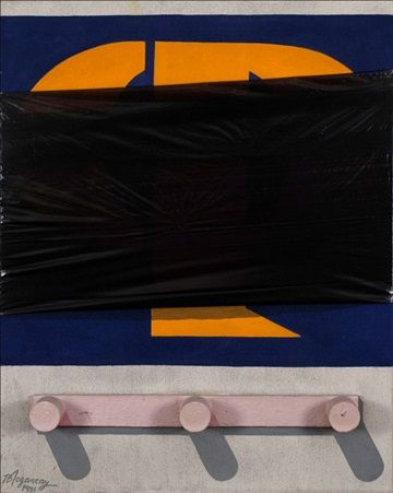 DURAN MACHINERY LOGO 162 x 130 cm. Mixed media on canvas 1991